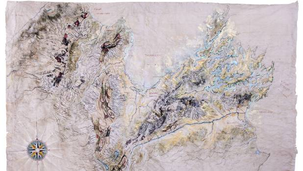 Sally Burton's map made with acrylic and gold leaf on tapa cloth.