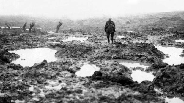 A grim scene of mud and horror at Passchendaele in Belgium, where New Zealand experienced its worst day.