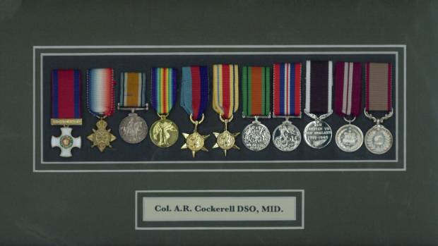 The Distinguished Service Order awarded to Allan Cockerell is on the far left of his World War I and II medals.