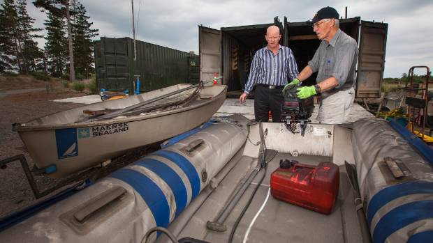 """Pleasant Point Yacht Club commodore Alastair Burgess, left, and Nigel Humphreys are getting their club a hand """"off the ..."""
