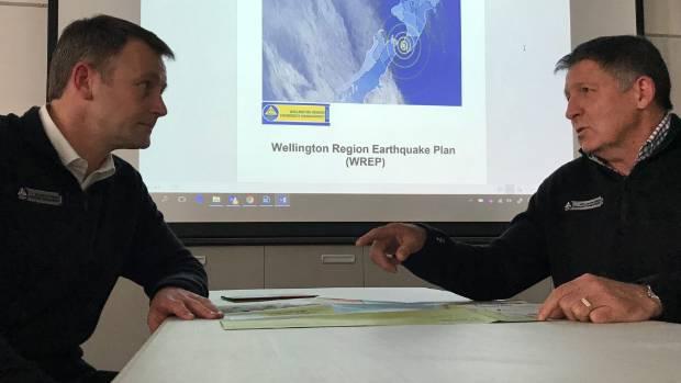 Wellington Region Emergency Management Office (Wremo) regional manager Jeremy Holmes, left, and group controller David ...