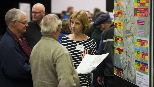 Mary O'Callahan from GHD answers questions as the four final options for gorge alternative routes are unveiled to the ...