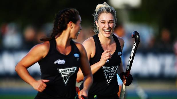 Rachel McCann (right) scored seven goals in the Black Sticks' victory over Papua New Guinea at the Oceania Cup.