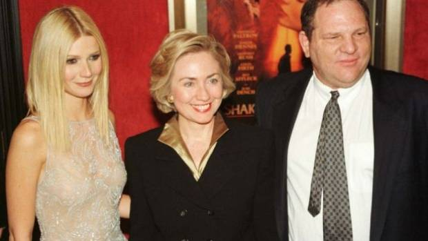 Actress Gwyneth Paltrow poses with Hillary Rodham Clinton and Harvey Weinstein as they arrive for the premiere of ...