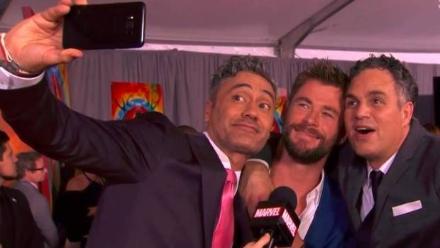 Taika Waititi, Chris Hemsworth and Mark Ruffalo at Thor:Ragnorak premiere.