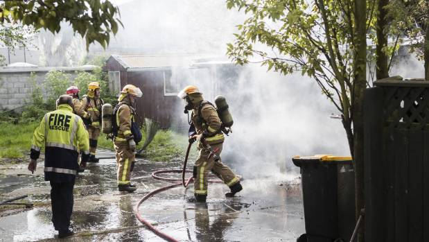 A garage on Selwyn St was destroyed after a fire on Thursday morning.