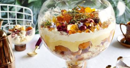 Big and beautiful apricot doughnut trifle with rosemary praline.
