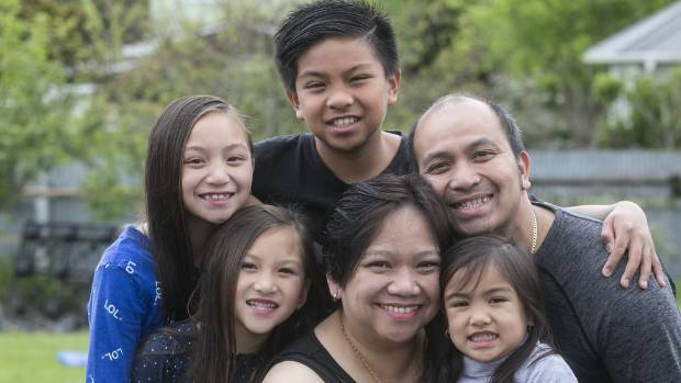 The Elseras moved to Upper Hutt from the Philippines 10 years ago. From left, Aaliyah, Arabelle, Aaron, Bernadette, ...