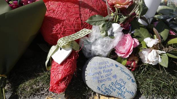 Flowers laid in memory of Thomas Armit who died in a crash at the intersection of Glenaven Dr and Thorp St in Motueka.