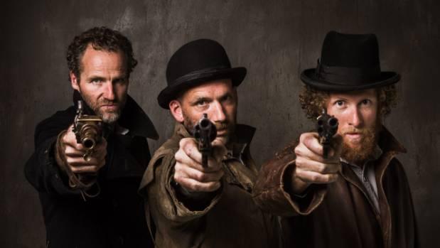 The 1866 Maungatapu murderers Joseph Thomas Sullivan, left,  Richard Burgess and Philip Levy, as played by actors Nick ...