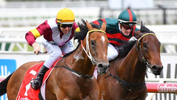 Summer Passage (right) finishing second to Perast in the Caulfield Guineas Prelude earlier this month.