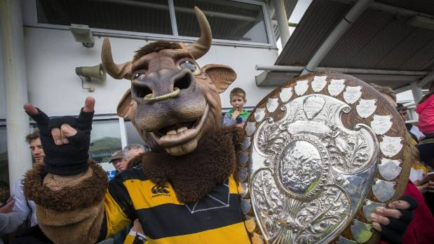 Taranaki rugby mascot Ferdinand, aka Morris West is one of the lucky ones who has got up close  and personal with the  ...