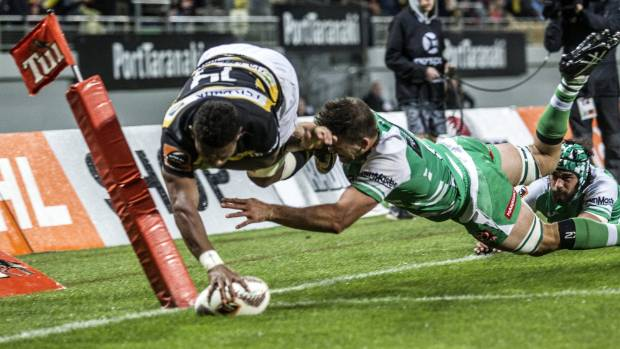 Taranaki wing Waisake Naholo scores a spectacular try in the corner during their successful Ranfurly Shield defence ...
