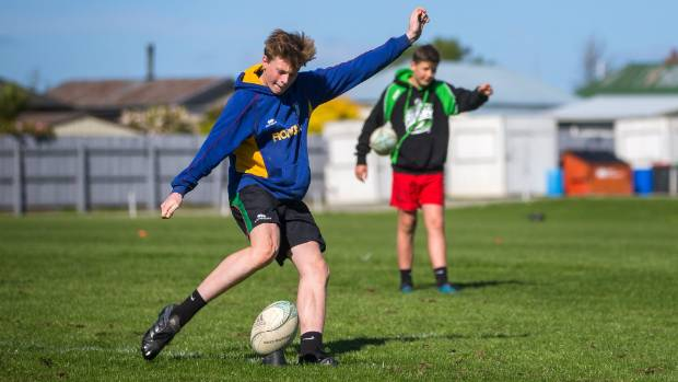 Ben Thomson kicks at goal during the South Canterbury Rugby Union's under-18 super boot competition at Alpine Energy ...