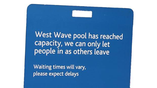 This is the sign that usually greets people when West Wave is full.