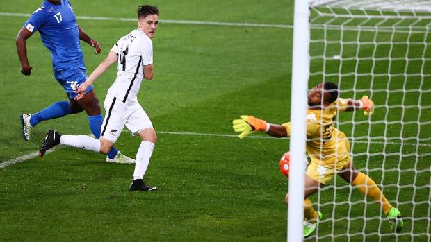 All Whites midfielder Ryan Thomas scores against Fiji in March.
