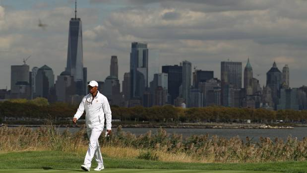 Tiger Woods at Liberty National during the Presidents Cup last month, where he was an assistant captain on the US team.