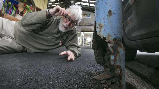 Resident Don McDonald is concerned at the state of some of Newtown's rusted and decrepit verandas and awnings, fearing ...