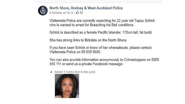 Police call wanted woman 'fat', refer to her as 'him', on
