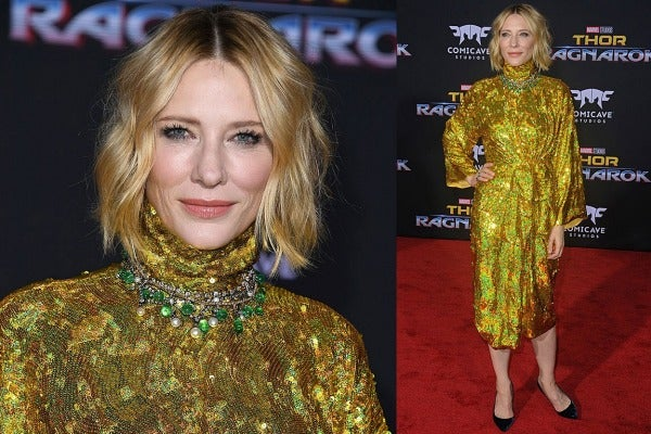 THE WE-JUST-DON'T-KNOW: Ah, Cate. If anyone's going to make this gold Gucci craft project work, it's her, but alas we ...