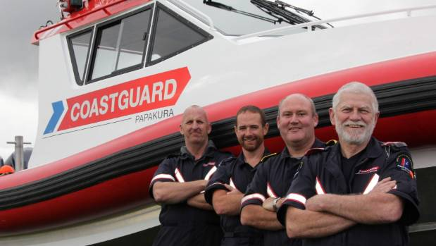 Coastguard Papakura volunteers Todd McGlade, Lance Bunker, president Rod Frost and vice-president Bruce Brownlee.