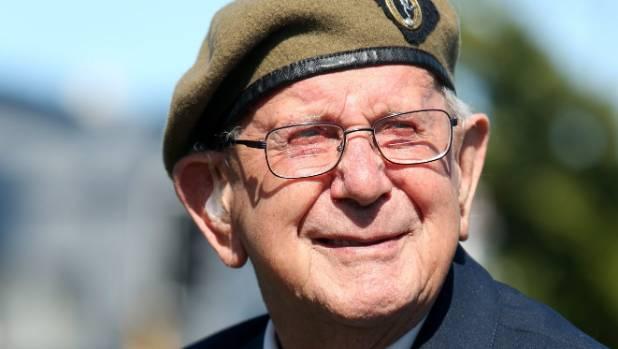 Pat Frampton at the Passchendaele commemoration at Invercargill Cenotaph.