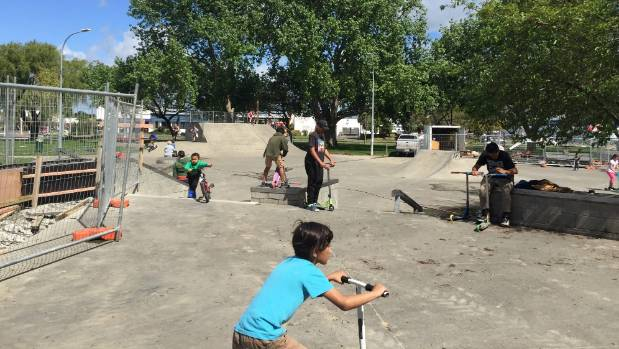 Palmerston North's skate park is humming with school holiday users while work on extensions continues.