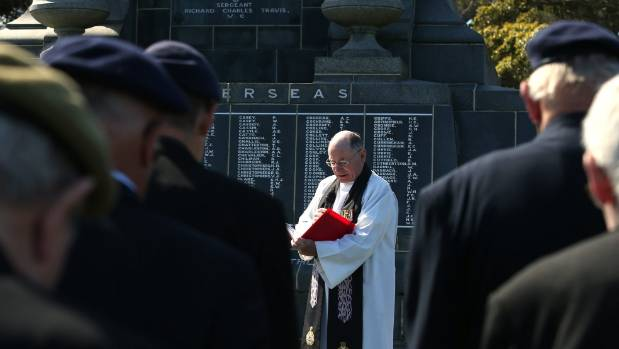 Padre (Major) Anthony Harrison at the Passchendaele commemoration at Invercargill Cenotaph