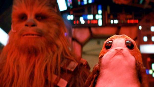 The Last Jedi introduces the porg (right), with Chewbacca.