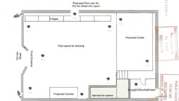 The proposed floor plan for the liquor store drew criticism from police and objectors, concerned about the placement of ...