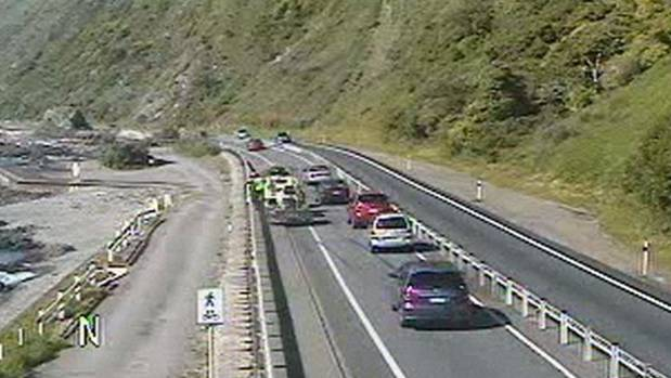 The scene of the crash in the northbound lane of State Highway 1, just north of Pukerua Bay.