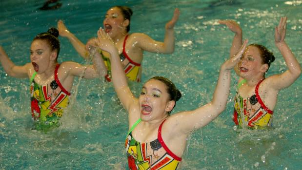 Elizabeth Somerville , Onevai Pita, Xiara Patino and Claire Montgomery at the Synchronised Swimming National Championships.