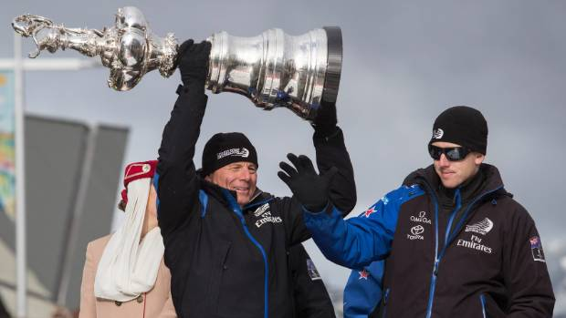 """Team NZ's Grant Dalton and Peter Burling at the start of Christchurch's America's Cup parade, where """"An evening with ..."""