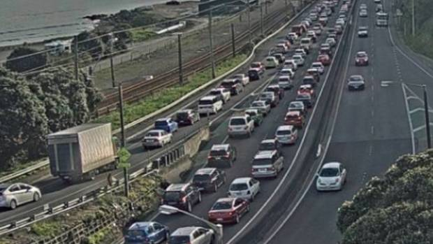 A three-car collision in a southbound SH2 lane is causing delays, just south of the Petone off-ramp.