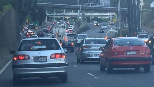 At 7pm a commuter was reporting that northbound traffic on Wellington's urban motorway was clogged all the way back to ...