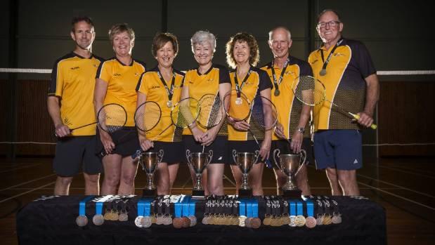 Taranaki Badminton players Trent Riddick, Tanya Riddick, Cheryl Lawrence, Denise Darling, Elizabeth Ritchie, Frank ...