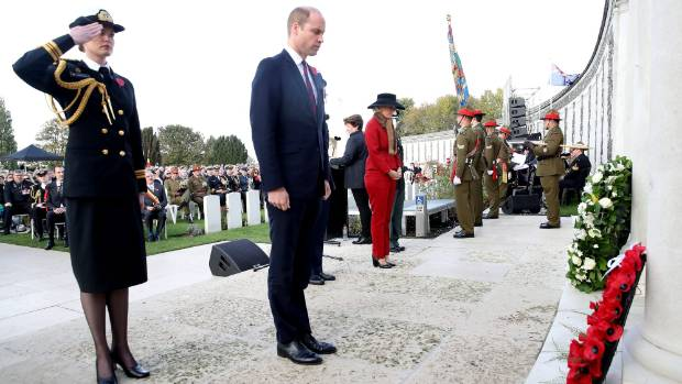 Prince William lays a wreath at the New Zealand Memorial Wall to the Missing.