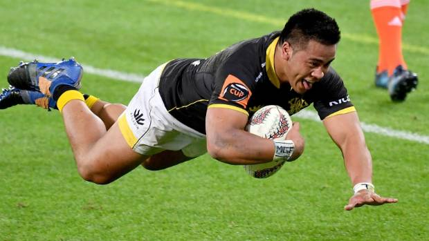 Asafo Aumua clearly enjoys scoring one of his two tries for Wellington against Northland.