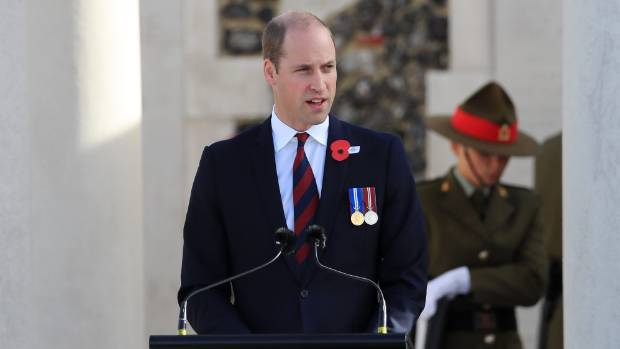 Prince William speaks at the New Zealand national commemoration for the Battle of Passchendaele, at Tyne Cot Cemetery.