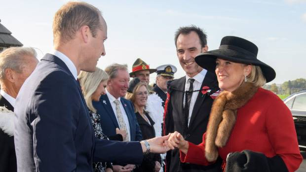 Prince William, with Princess Astrid of Belgium at the New Zealand Memorial Wall to the Missing.