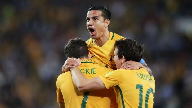 The raw excitement of scoring a goal for Australia takes hold for Socceroos star Tim Cahill.