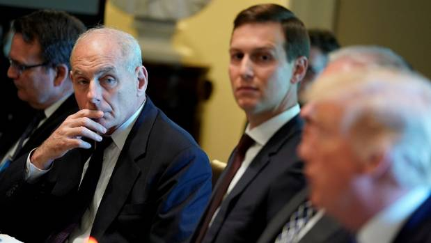 Kelly with Trump and senior adviser Jared Kushner. Sources say tensions have flared between Kelly and Trump as they ...