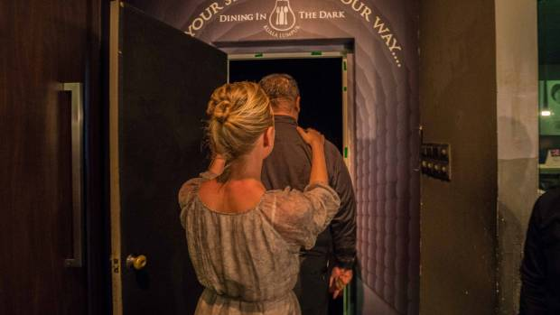 Being led into the 'dark room'.