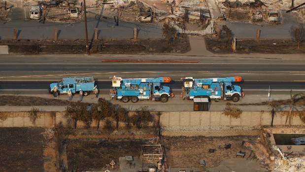 Utility trucks in Santa Rosa.