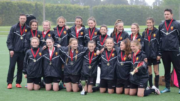 North Canterbury 14th grade girls celebrate winning the South Island Tournament