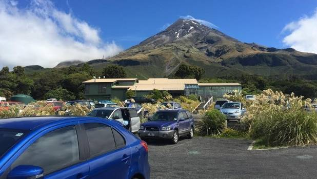 The parking congestion at Mt Egmont Visitor Centre  last summer