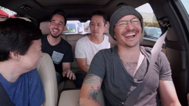Linkin Park are seen laughing, singing and playing along during an episode of Carpool Karaoke.