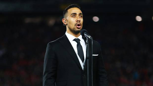 Moses Mackay singing the national anthem ahead of a test match between the All Blacks and the British & Irish Lions in June.