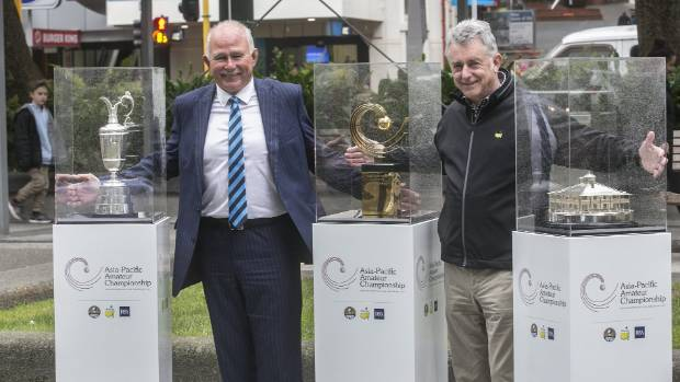 Royal Wellington Golf Club president Marty Scott, left, and club captain Andrew Harcourt with the Claret Jug, ...