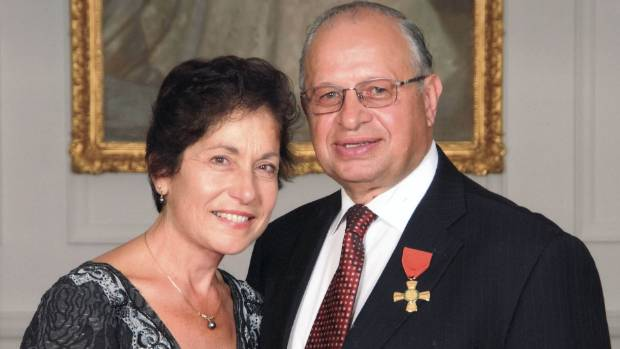 Nick Calavrias and wife Mariana, after he received his ONZM in 2011 for services to business.